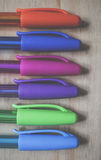 Red Blue Purple Green Lined Pen Stock Photography