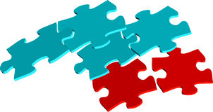 Red and blue puzzle pieces Stock Images