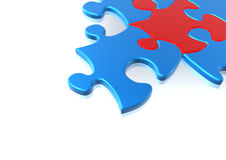 Red and blue puzzle pieces Stock Photography