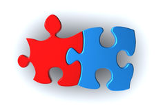 Red and blue puzzle pieces Royalty Free Stock Photography