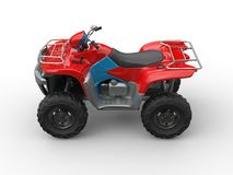Red blue quad bike - top side view Royalty Free Stock Images