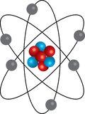 red-blue realistic atom with orbits royalty free illustration