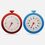 Red and blue realistic timers 35 seconds. On gray background . Stopwatch icon set. Timer icon. Time check. Fifty five seconds. Seconds timer. Timing device Royalty Free Stock Photography