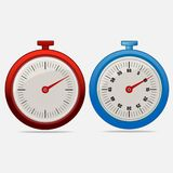 Red and blue realistic timers 10 seconds. On gray background . Stopwatch icon set. Timer icon. Time check. Fifty five seconds. Seconds timer. Timing device Stock Photos