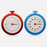 Red and blue realistic timers 15 seconds. On gray background . Stopwatch icon set. Timer icon. Time check. Fifty five seconds. Seconds timer. Timing device Stock Images