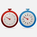 Red and blue realistic timers 50 seconds. On gray background . Stopwatch icon set. Timer icon. Time check. Fifty five seconds. Seconds timer. Timing device Royalty Free Stock Photos