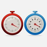 Red and blue realistic timers 20 seconds. On gray background . Stopwatch icon set. Timer icon. Time check. Fifty five seconds. Seconds timer. Timing device stock illustration