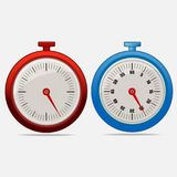 Red and blue realistic timers 25 seconds. On gray background . Stopwatch icon set. Timer icon. Time check. Fifty five seconds. Seconds timer. Timing device Stock Images