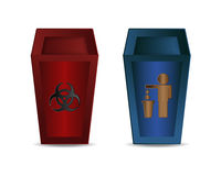 Red and Blue Recycle Bin Stock Images