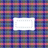 Red blue retro country checkered black yellow background with etiquette Stock Photography