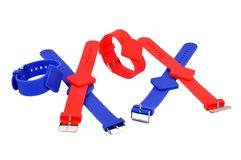 Red and blue RFID bracelets Stock Images