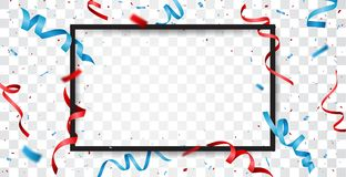 Red and blue ribbon with confetti with space for text Royalty Free Stock Photography