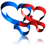 Red and Blue Ribbon Hearts-3d. Two ribbons, red and Blue, making two Hearts Stock Photos