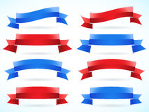 Red and blue ribbon set Stock Photos