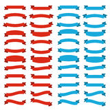 Red and blue ribbons. Collection strips of red and blue colors. Flat style Royalty Free Stock Image