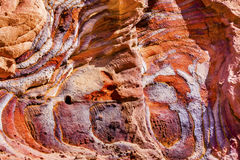 Red Blue Rock Abstract Near Royal Tombs Petra Jordan. Red Blue Rock Abstract Petra Jordan  Built by the Nabataens in 200 BC to 400 AD.  Rose Red canyon walls Royalty Free Stock Photos