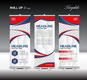 Red and blue Roll Up Banner template vector illustration stock illustration