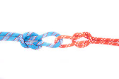 Red and blue rope knots with loops Royalty Free Stock Images