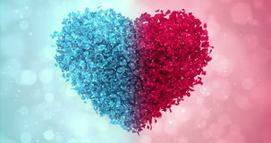 Red and Blue Rose Flower Petals In Lovely Heart Shape Background Loop 4k. Animation of romantic flying red and blue rose flower petals in shape of lovely heart stock video
