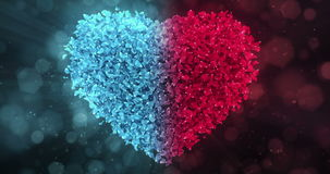 Red Blue Rose Flower Petals In Lovely Heart Shape Background Loop 4k stock video