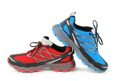 Red and blue running sport shoe Royalty Free Stock Photos