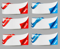 Red and blue sale banners with ribbons. Stock Photo