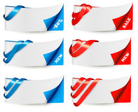 Red and blue sale banners with ribbons. Royalty Free Stock Photos