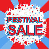 Red and blue sale poster with FESTIVAL SALE text. Advertising banner. Red and blue sale poster with FESTIVAL SALE text. Bright advertising banner template Royalty Free Stock Photography