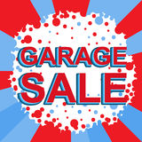 Red and blue sale poster with GARAGE SALE text. Advertising banner Royalty Free Stock Photos