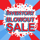 Red and blue sale poster with INVENTORY BLOWOUT SALE text. Advertising banner Stock Photo