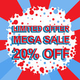 Red and blue sale poster with LIMITED OFFER MEGA SALE 20 PERCENT OFF text. Advertising banner. Red and blue sale poster with LIMITED OFFER MEGA SALE 20 PERCENT royalty free illustration