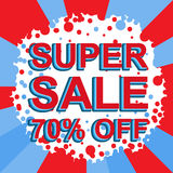 Red and blue sale poster with SUPER SALE 70 PERCENT OFF text. Advertising banner. Red and blue sale poster with SUPER SALE 70 PERCENT OFF text. Bright Stock Photo