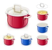 Red and blue saucepan with lid. Kitchen tableware. Royalty Free Stock Images