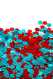 Red and blue sequins Stock Image