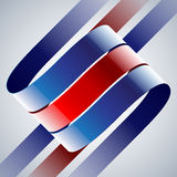 Red and blue shiny curved ribbons on white Stock Images
