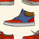 Red and blue shoes. Stock Photos