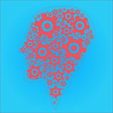 Red and blue silhouette of the head, brain, and cog gears Stock Photo