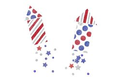 Red blue and silver glitter rocket paper cut background. Isolated royalty free illustration