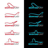 Red and blue sky airplane logo vector design Royalty Free Stock Photo