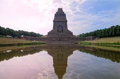 Red blue sky over Monument to the Battle of the Nations Das Völkerschlachtdenkmal in Leipzig, Germany. The Monument to the Battle of the Nations is a royalty free stock photography