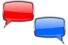 Red and blue speech bubbles. Web 3d icons with chrome frame. Vector illustration isolated on white background Stock Photo