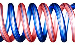 Red and blue spirals horizontal. Red and blue spirals illustration made in 3D with use of depth of field. Focus is on the front and back is in the little blur Stock Photo