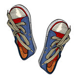 Red and blue sports sneakers Stock Photography