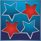 Red and blue star on blue background Stock Photos