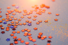 Red and blue star confetti , liberty concept . Stock Photography