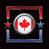 Red and blue star frame with canadian flag Royalty Free Stock Photos