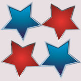 Red and blue star on gray background Stock Photo