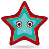 Red and blue starfish on a white background.  Stock Image