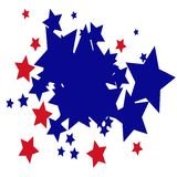 Red Blue Stars background. Square white background with multiple red and blue stars Stock Photos