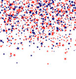 Red and blue stars falling from the sky on white background. 4th of July background. Independence day Stock Photos